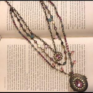 Sorrelli Bright Multi Long Strand Locket Necklace